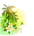 tropical watercolor background with green palms vector image vector image