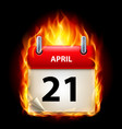 twenty-first april in calendar burning icon on vector image vector image
