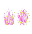 yellow and pink crystal cartoon cute vector image vector image