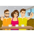 young people taking a selfie at a coffee shop vector image vector image