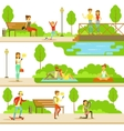 People Spending Time In Park In Summer Set Of
