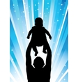 Silhouette of the father of holding child blue vector image
