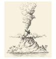 active volcano drawing volcanic eruption vector image vector image