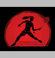 badminton player action sport action cartoon vector image