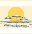 beach and sea panorama umbrellas on beach by vector image vector image