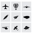 black airplane icon set vector image vector image