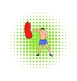 Boxer hitting the punching bag icon comics style vector image vector image