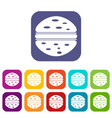 burger icons set flat vector image vector image