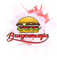 burger with inscription on abstract watercolor vector image vector image
