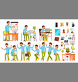 business man character working people set vector image