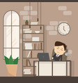 businessman falling asleep at his work business vector image vector image
