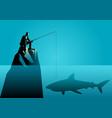 businessman fishing a shark vector image vector image