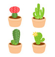 cute and colorful cactus pot vector image vector image