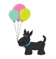 Cute cartoon dog with balloons vector image vector image