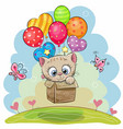 cute cartoon kitten with balloons vector image vector image