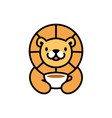 cute lion coffee cup drink playful cartoon logo vector image vector image