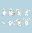 cute rabbit or bunny happy easter set vector image vector image