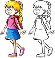 doodle drafting of schoolgirl with bag vector image