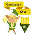 elf with letters christmas sale and price off vector image vector image