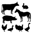 Farm farmyard animals silhouettes vector image vector image