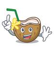 finger cocktail coconut mascot cartoon vector image vector image