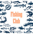 fishing sport club poster with fish vector image vector image