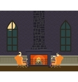 Gentlemen at Fireplace Evening Room Hall vector image
