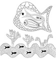 Graphic black white abstract fish and seaweed vector image