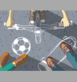 group teenagers on asphalt chalk painted different vector image vector image