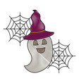halloween funny ghost with hat celebration vector image vector image
