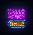 halloween sale text halloween sale neon vector image vector image
