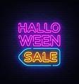 halloween sale text sale neon vector image