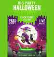 halloween witch and black cat flying on broom vector image vector image
