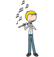 happy kid playing flute vector image vector image