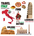 infographic elements for traveling to italy vector image