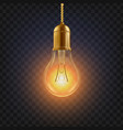 light bulb glowing bright light bulb icon vector image vector image