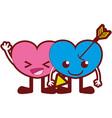 line color smile hearts couple kawaii cartoons vector image