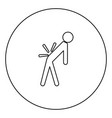 man a with sick back backache black icon outline vector image vector image