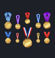 medals and ribbons set different colors vector image vector image