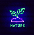 nature neon label vector image