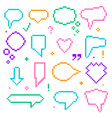 pixel art 8 bit speech bubbles color icons set vector image
