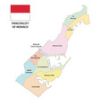 principality monaco administrative map vector image vector image
