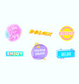 relax banners good vibes motivation icons set vector image vector image