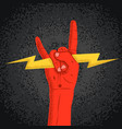 rock red hand silhouette holding lightning with vector image vector image