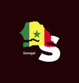 senegal initial letter country with map and flag vector image