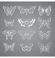 set butterflies decorative isolated silhouettes vector image