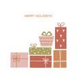 set hand drawn christmas gift boxes trendy vector image vector image