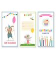 set of birthday greeting cards with cute animals vector image vector image