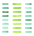 set of watercolor pastel green brushes stroke vector image