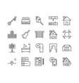 simple set real estate related line icons vector image vector image